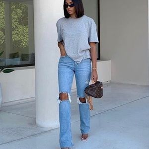 Zara Premium The Real Straight Jeans Misty Blue Distressed 6 Blogger Fave